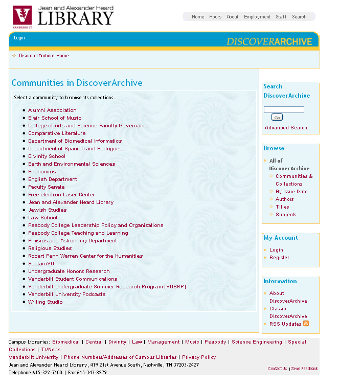 DiscoverArchive home page screen shots